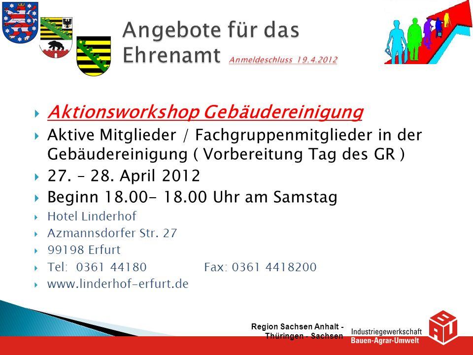 Angebote für das Ehrenamt Anmeldeschluss 19.4.2012