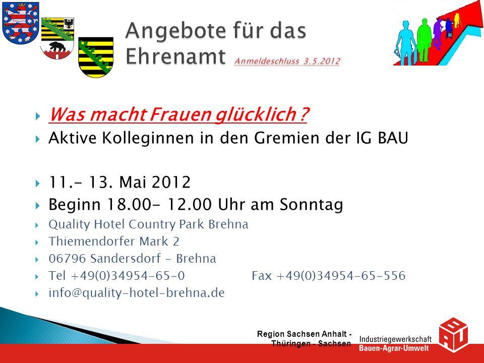 Angebote für das Ehrenamt Anmeldeschluss 3.5.2012