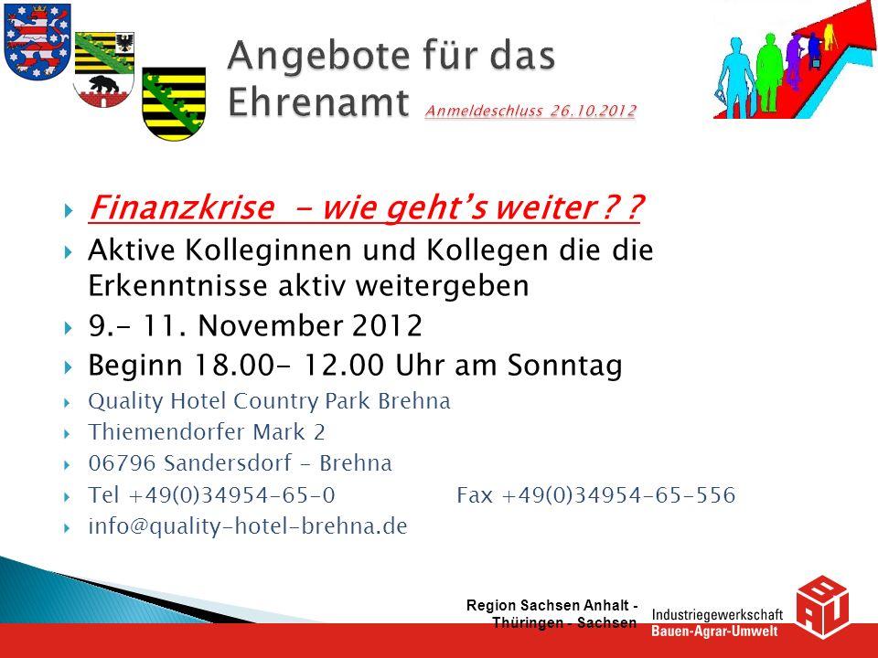 Angebote für das Ehrenamt Anmeldeschluss 26.10.2012