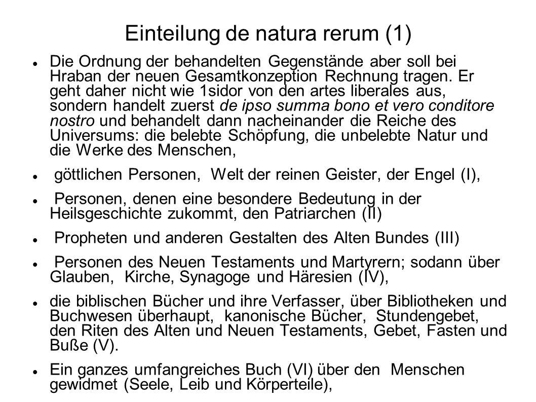 Einteilung de natura rerum (1)