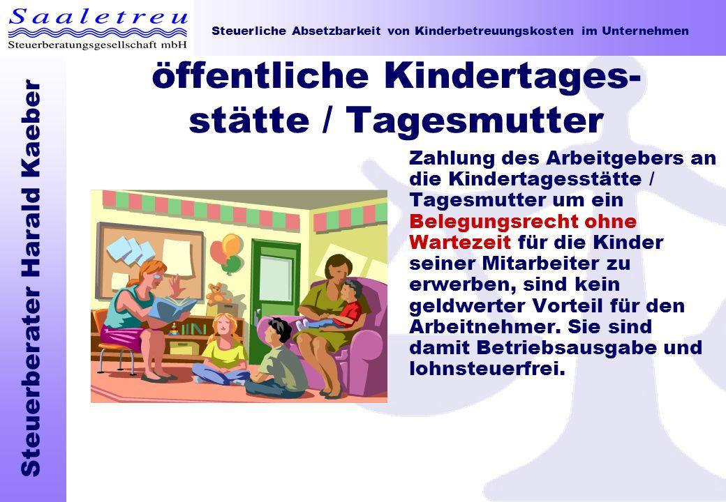 öffentliche Kindertages-stätte / Tagesmutter