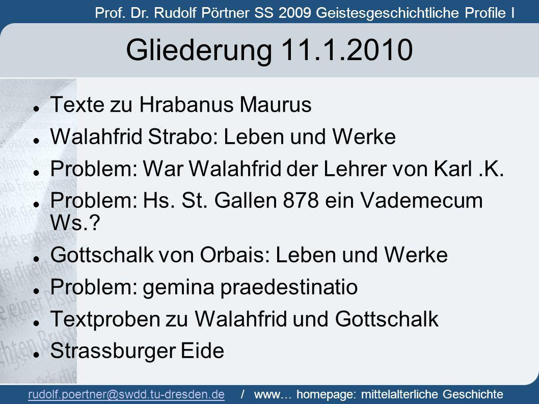 Gliederung 11.1.2010 Texte zu Hrabanus Maurus