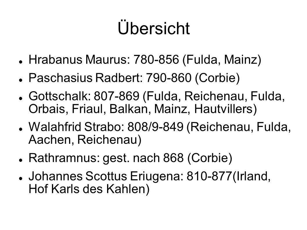 Übersicht Hrabanus Maurus: 780-856 (Fulda, Mainz)