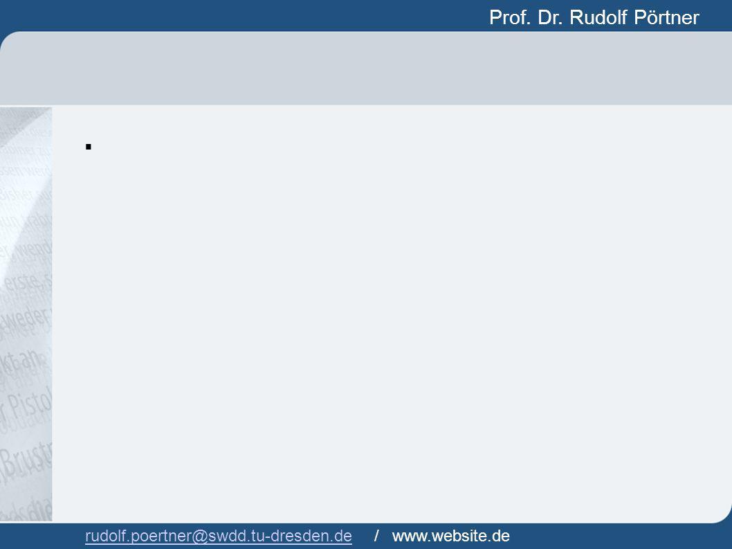Prof. Dr. Rudolf Pörtner Prof. Dr. Rudof Pörtner