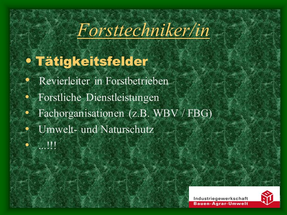 Forsttechniker/in Tätigkeitsfelder Revierleiter in Forstbetrieben