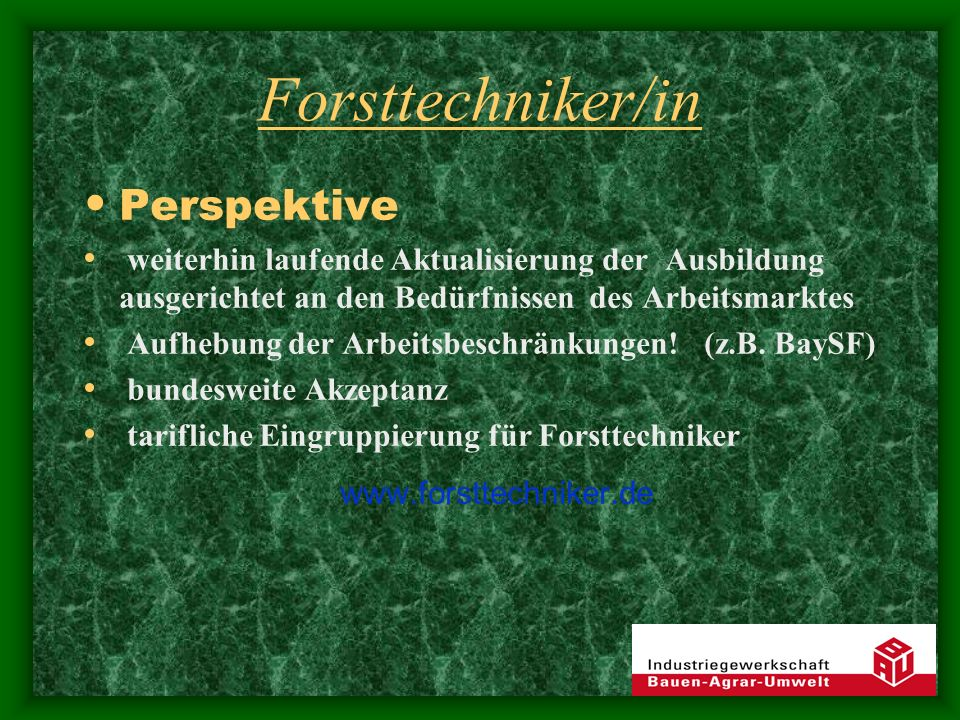 Forsttechniker/in Perspektive