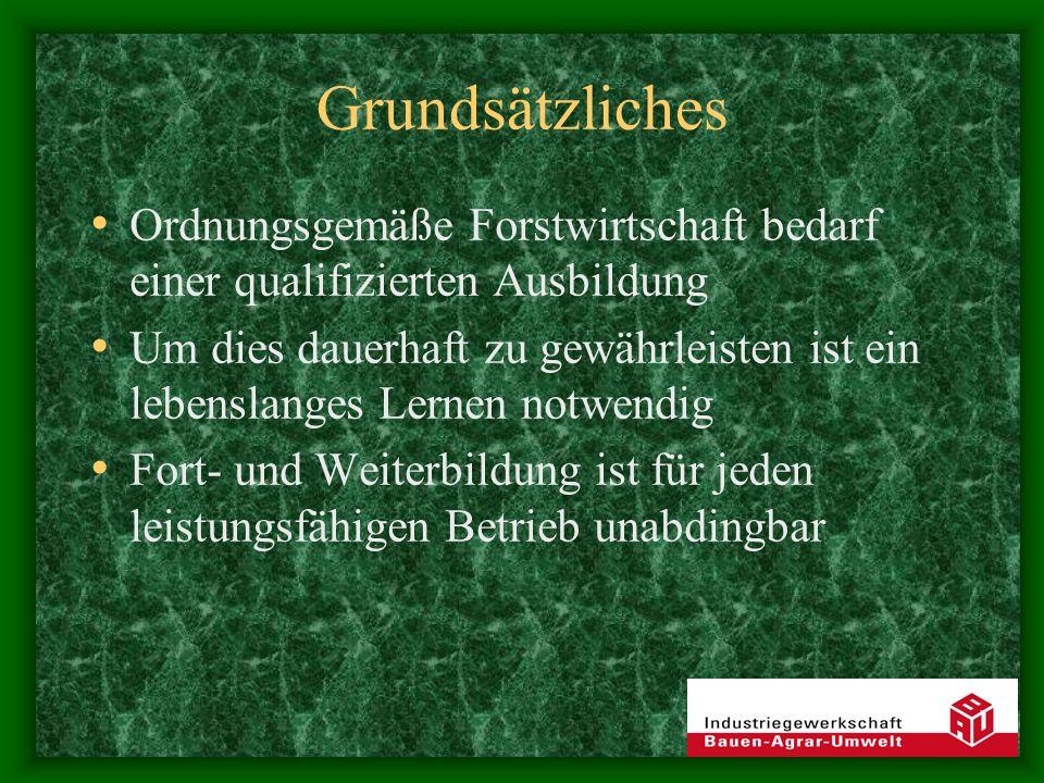 Grundsätzliches Ordnungsgemäße Forstwirtschaft bedarf einer qualifizierten Ausbildung.