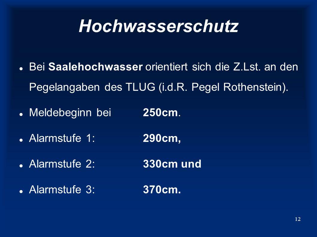Hochwasserschutz Bei Saalehochwasser orientiert sich die Z.Lst. an den Pegelangaben des TLUG (i.d.R. Pegel Rothenstein).