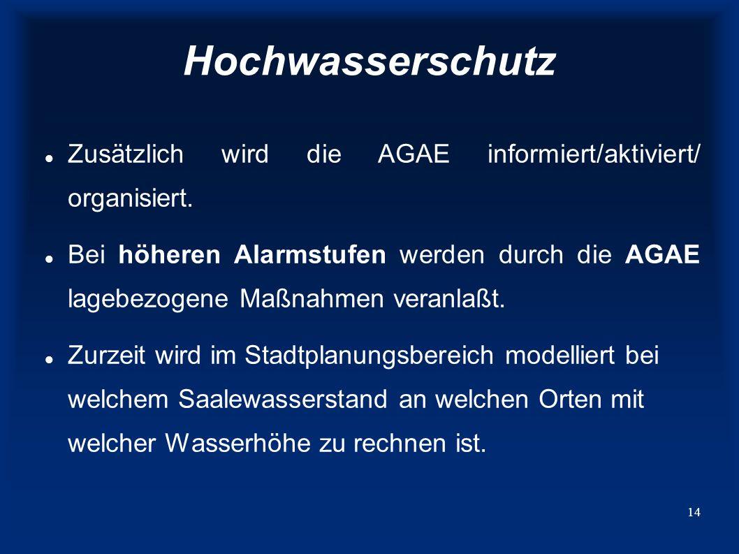 Hochwasserschutz Zusätzlich wird die AGAE informiert/aktiviert/ organisiert.