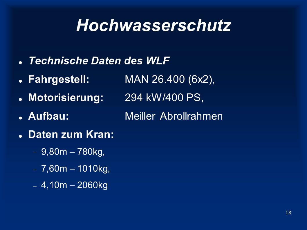 Hochwasserschutz Technische Daten des WLF