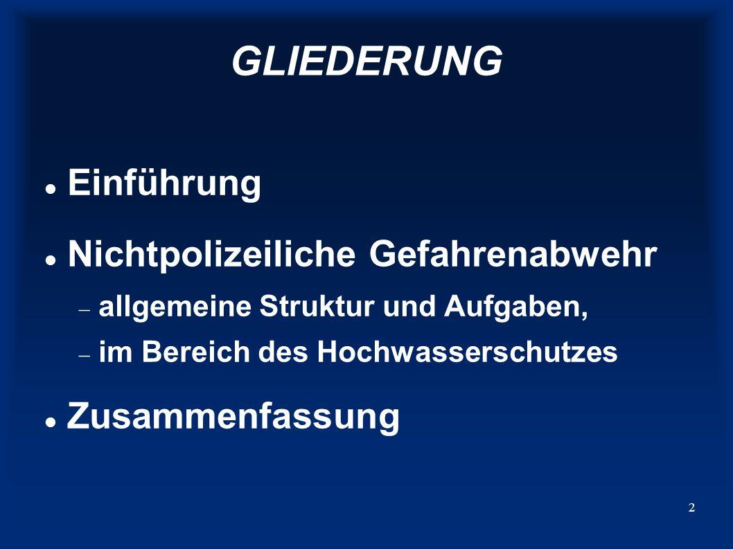 GLIEDERUNG Einführung Nichtpolizeiliche Gefahrenabwehr Zusammenfassung