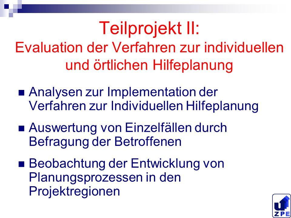 Teilprojekt II: Evaluation der Verfahren zur individuellen und örtlichen Hilfeplanung