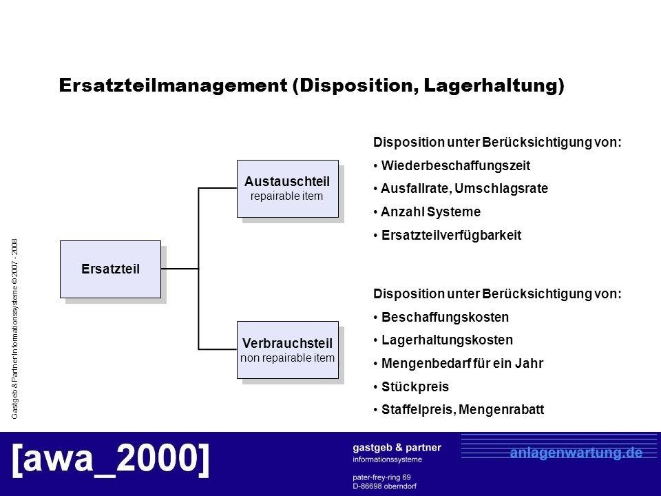 Ersatzteilmanagement (Disposition, Lagerhaltung)