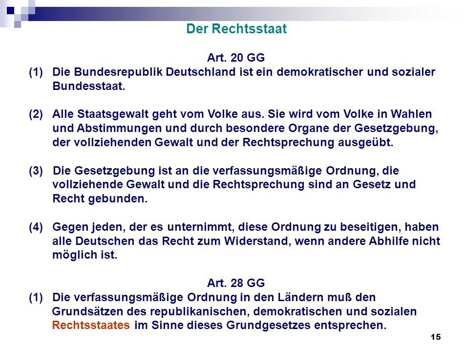 Der Rechtsstaat Art. 20 GG. Die Bundesrepublik Deutschland ist ein demokratischer und sozialer Bundesstaat.