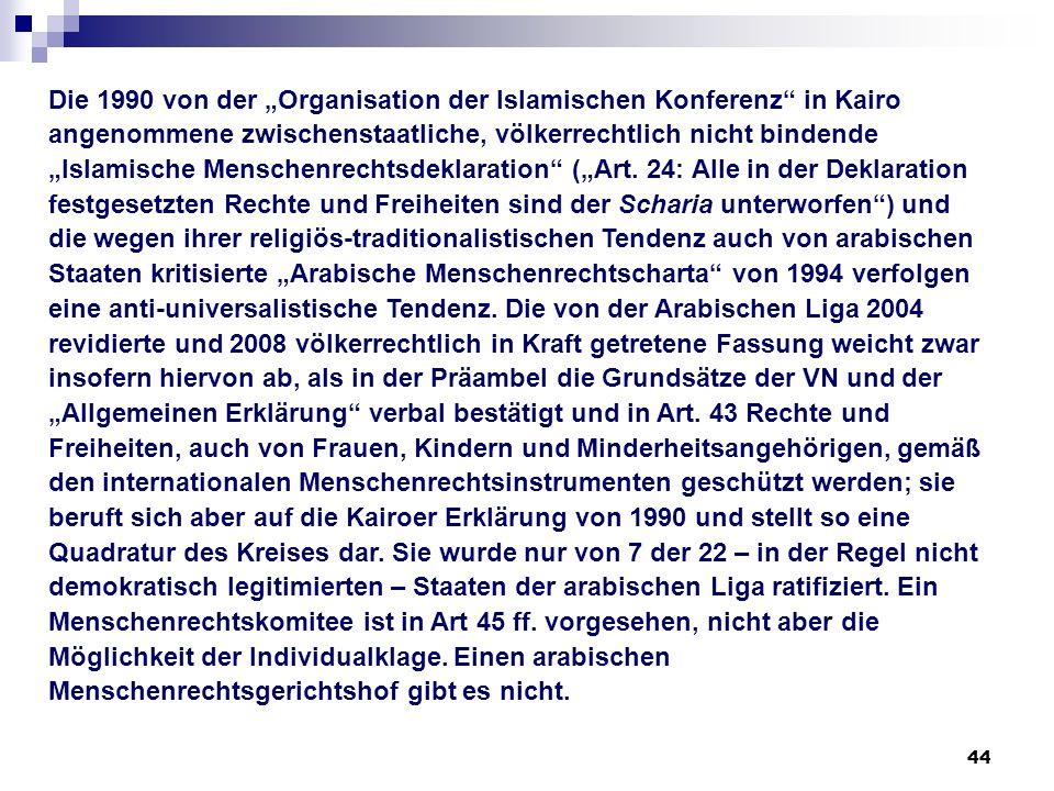 """Die 1990 von der """"Organisation der Islamischen Konferenz in Kairo angenommene zwischenstaatliche, völkerrechtlich nicht bindende """"Islamische Menschenrechtsdeklaration (""""Art."""