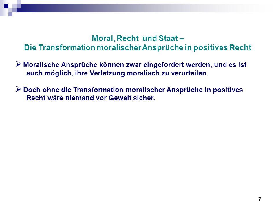 Die Transformation moralischer Ansprüche in positives Recht