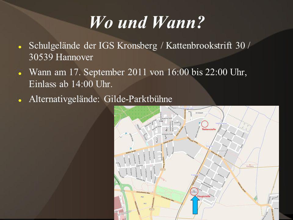 Wo und Wann Schulgelände der IGS Kronsberg / Kattenbrookstrift 30 / 30539 Hannover.