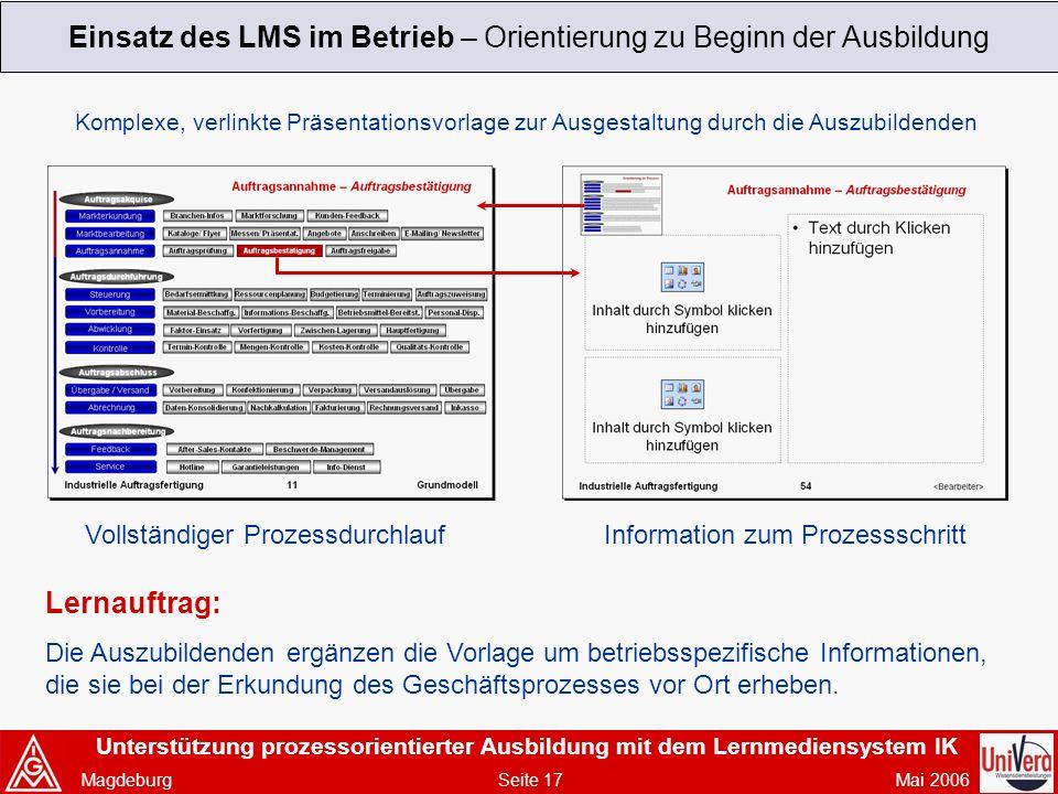 Einsatz des LMS im Betrieb – Orientierung zu Beginn der Ausbildung