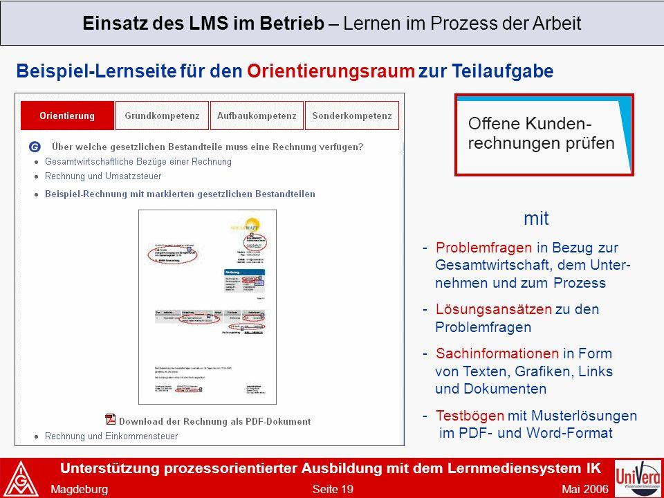 Einsatz des LMS im Betrieb – Lernen im Prozess der Arbeit