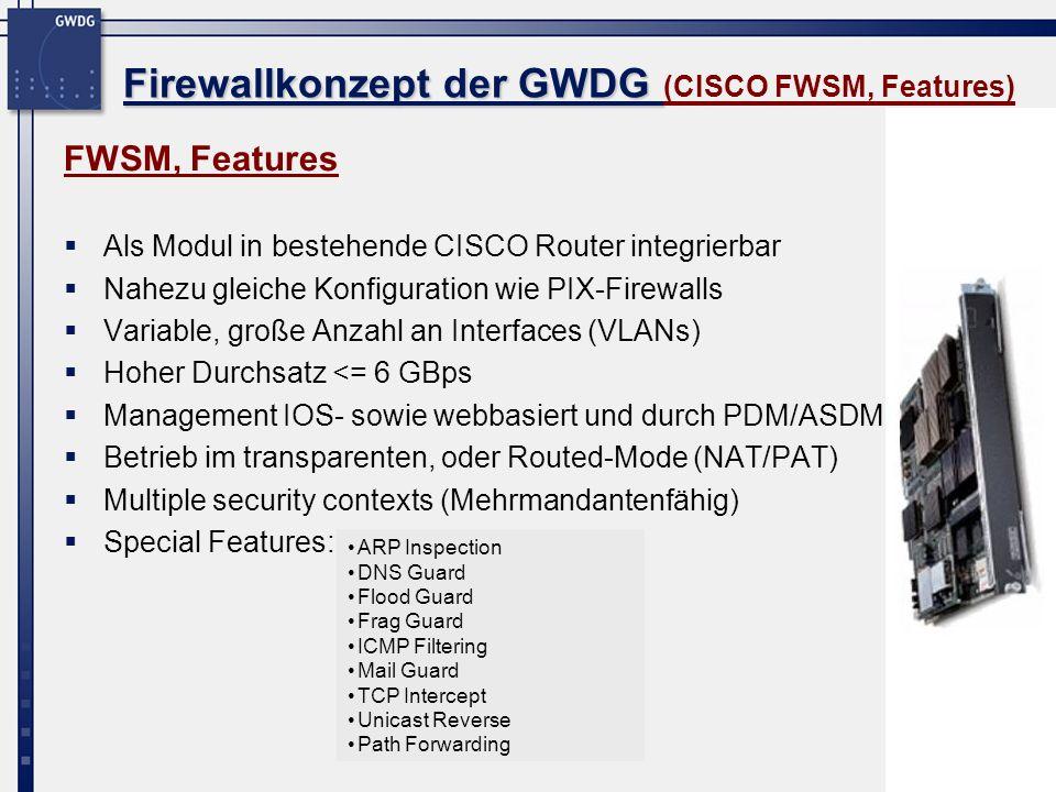 Firewallkonzept der GWDG (CISCO FWSM, Features)