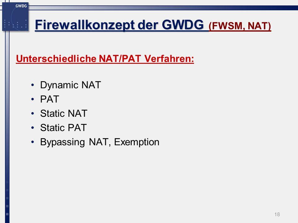 Firewallkonzept der GWDG (FWSM, NAT)