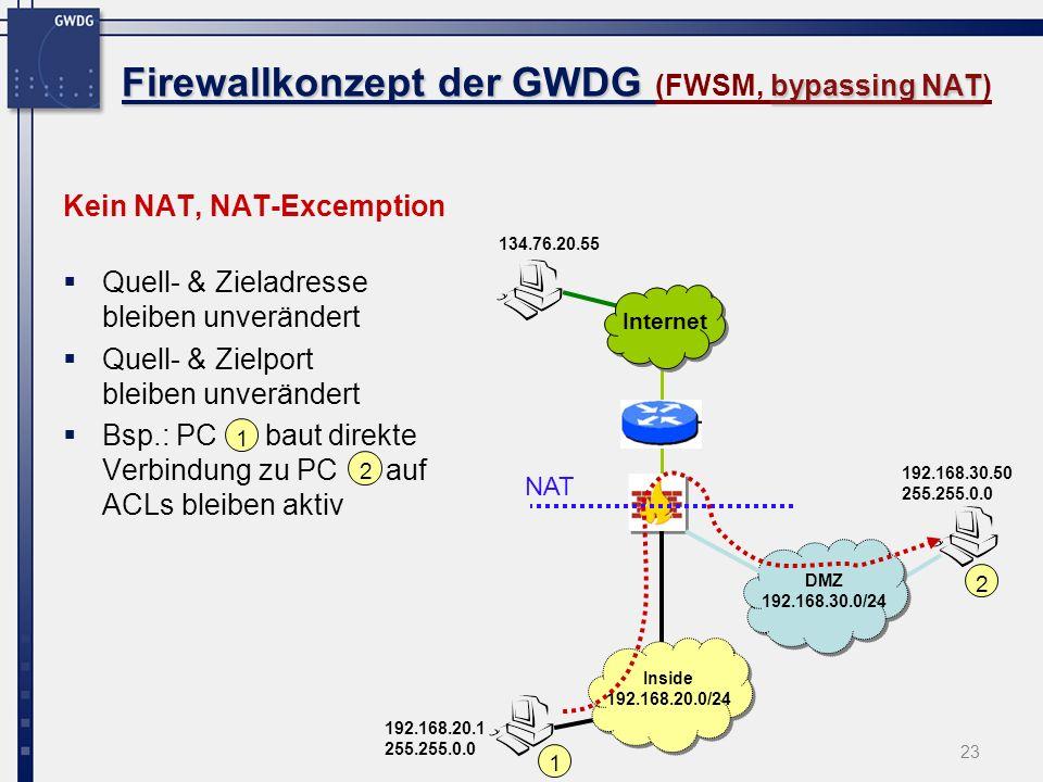 Firewallkonzept der GWDG (FWSM, bypassing NAT)