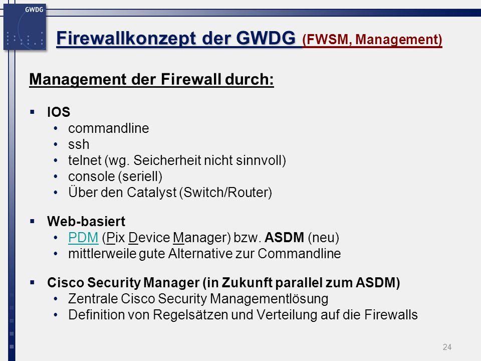 Firewallkonzept der GWDG (FWSM, Management)