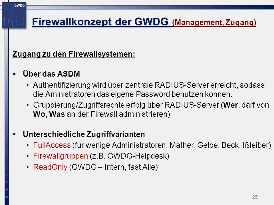 Firewallkonzept der GWDG (Management, Zugang)