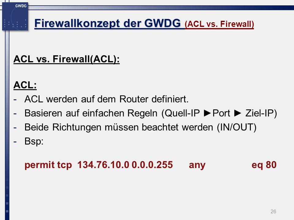 Firewallkonzept der GWDG (ACL vs. Firewall)