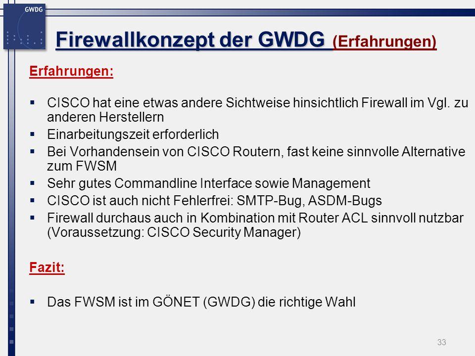 Firewallkonzept der GWDG (Erfahrungen)