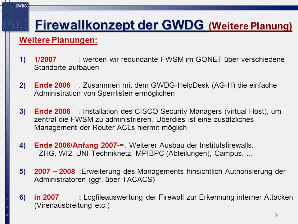 Firewallkonzept der GWDG (Weitere Planung)