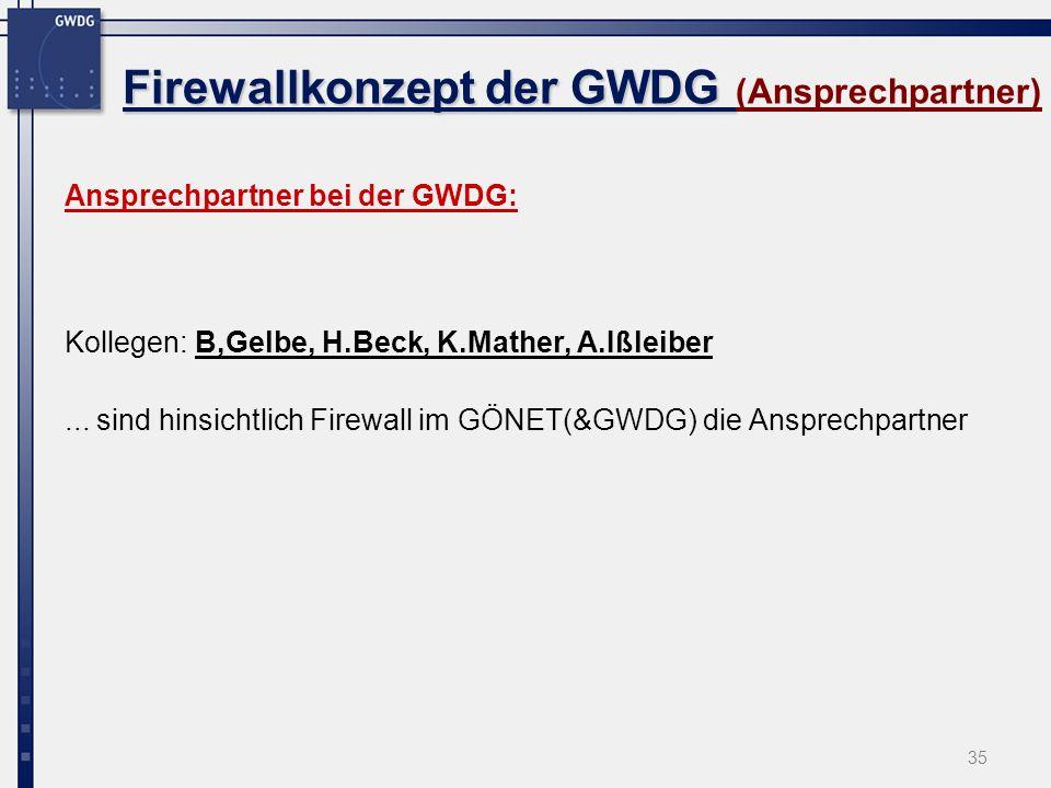 Firewallkonzept der GWDG (Ansprechpartner)