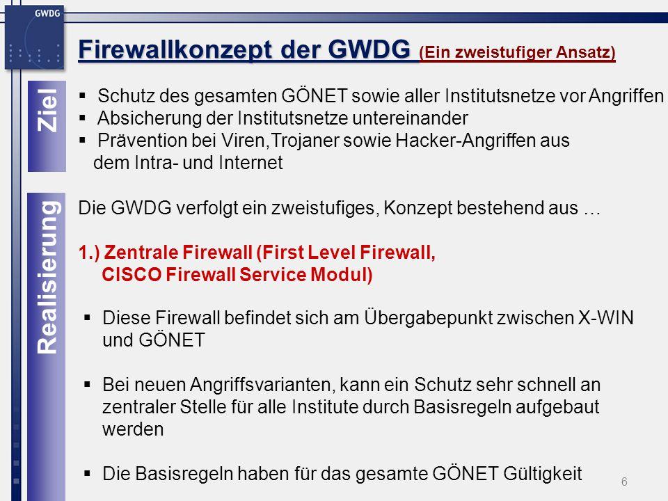 Firewallkonzept der GWDG (Ein zweistufiger Ansatz)