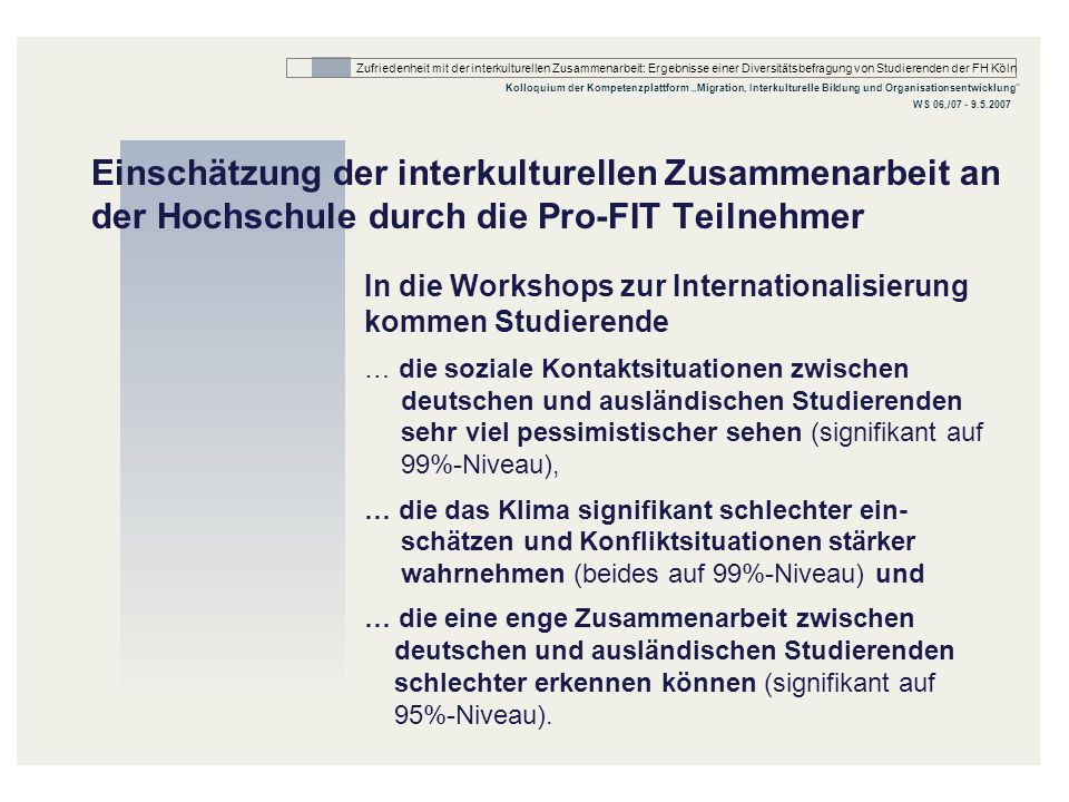 Einschätzung der interkulturellen Zusammenarbeit an der Hochschule durch die Pro-FIT Teilnehmer