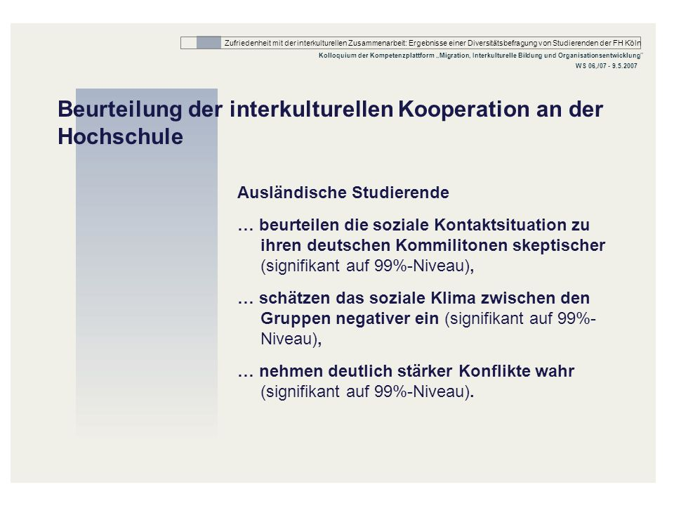 Beurteilung der interkulturellen Kooperation an der Hochschule