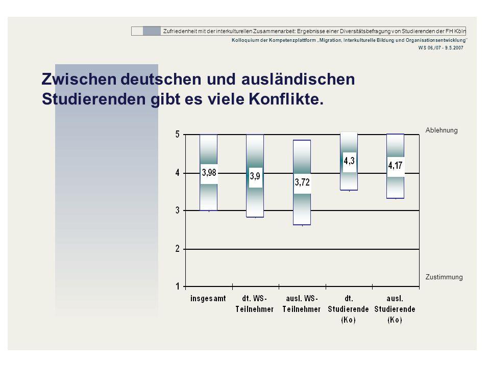 Zwischen deutschen und ausländischen Studierenden gibt es viele Konflikte.