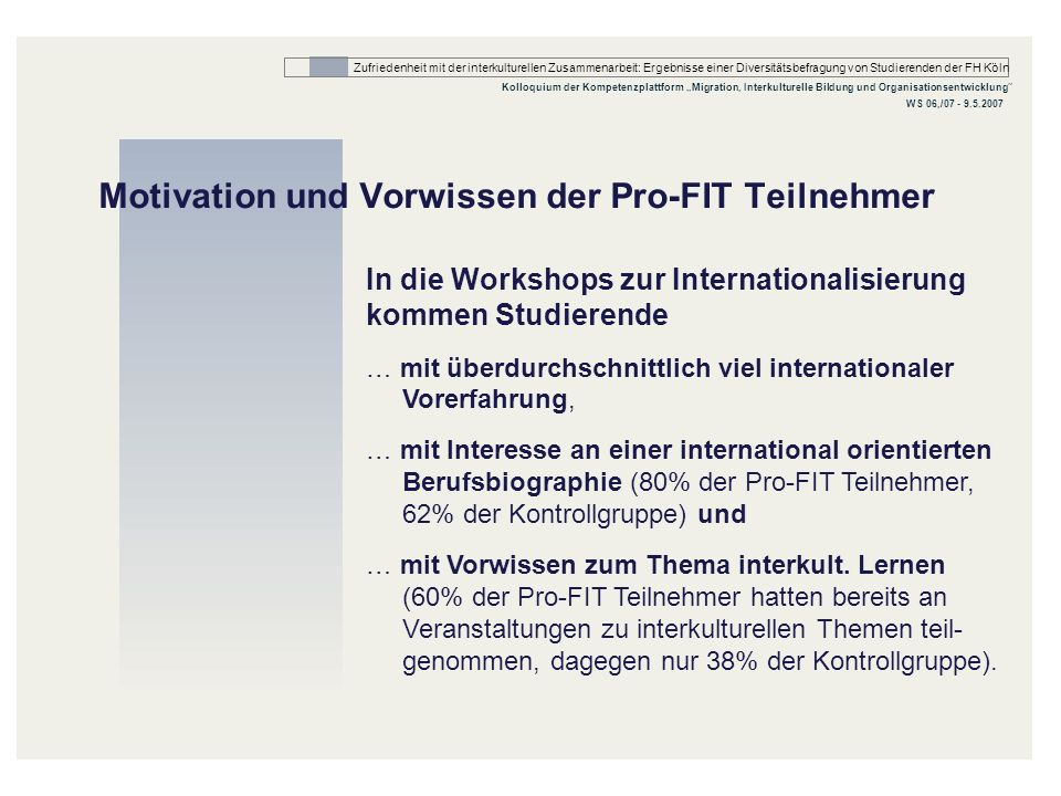 Motivation und Vorwissen der Pro-FIT Teilnehmer