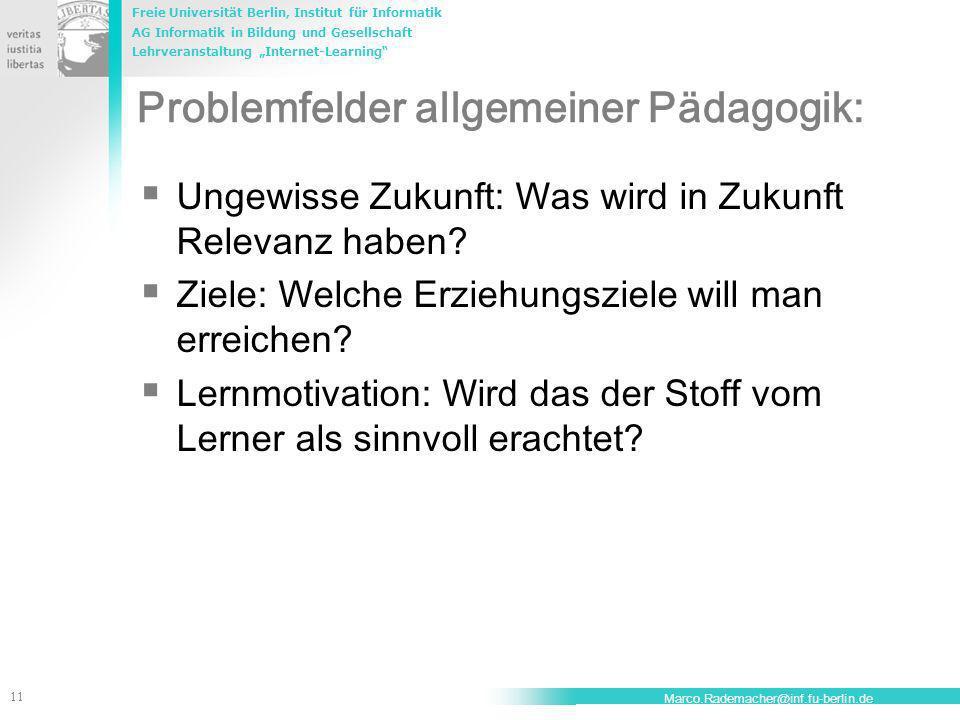 Problemfelder allgemeiner Pädagogik:
