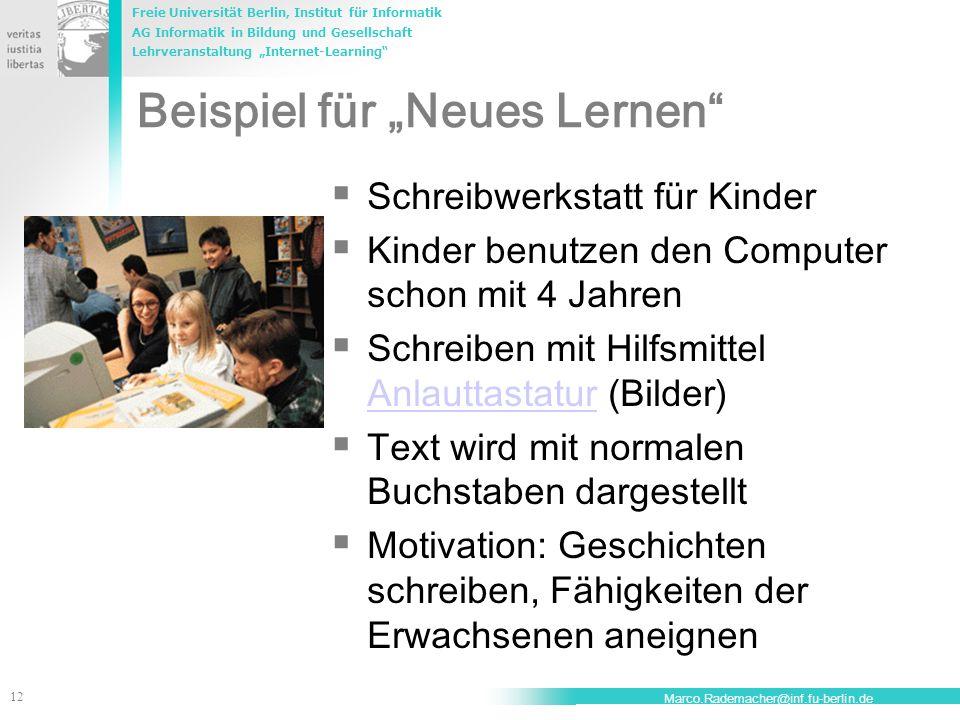 """Beispiel für """"Neues Lernen"""