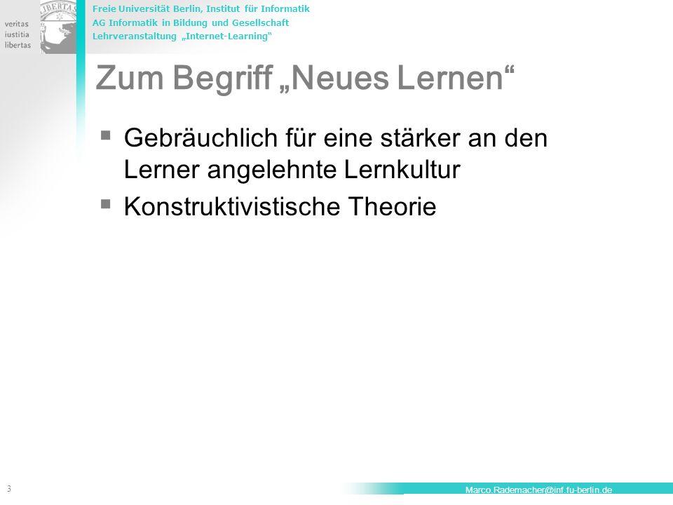"""Zum Begriff """"Neues Lernen"""