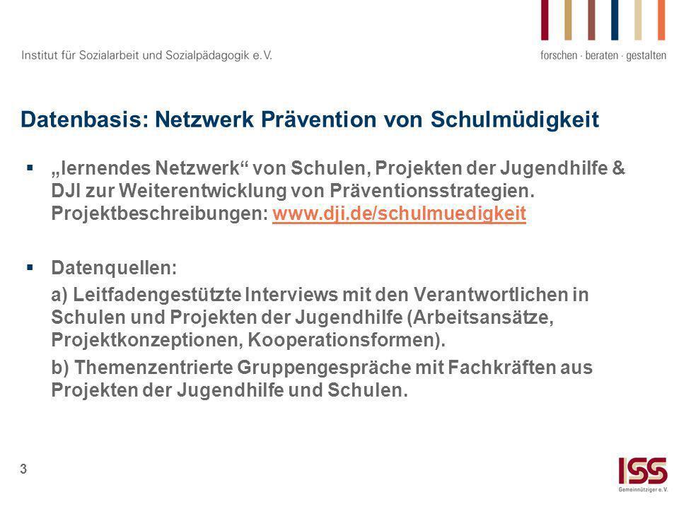Datenbasis: Netzwerk Prävention von Schulmüdigkeit