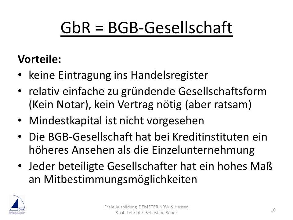 GbR = BGB-Gesellschaft