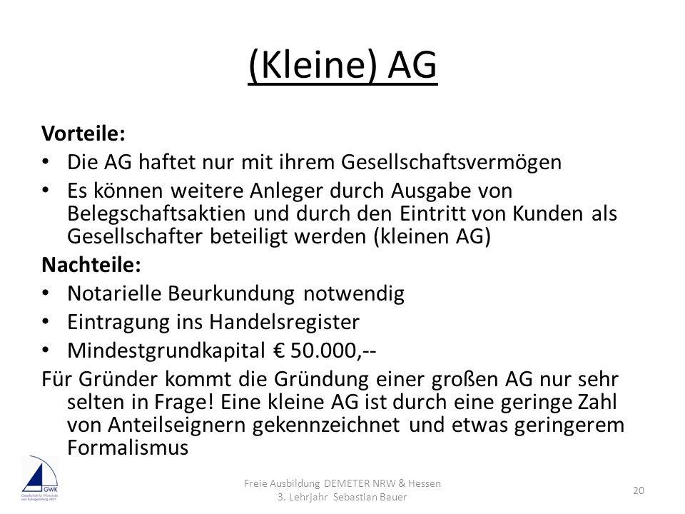 Freie Ausbildung DEMETER NRW & Hessen 3. Lehrjahr Sebastian Bauer