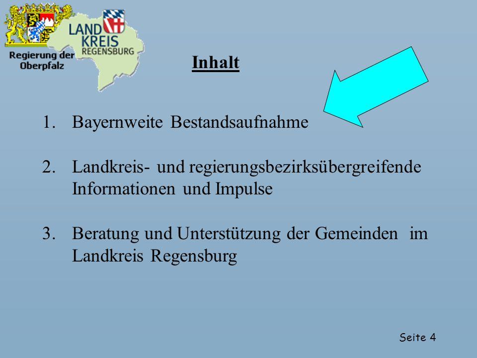 Inhalt Bayernweite Bestandsaufnahme. Landkreis- und regierungsbezirksübergreifende Informationen und Impulse.