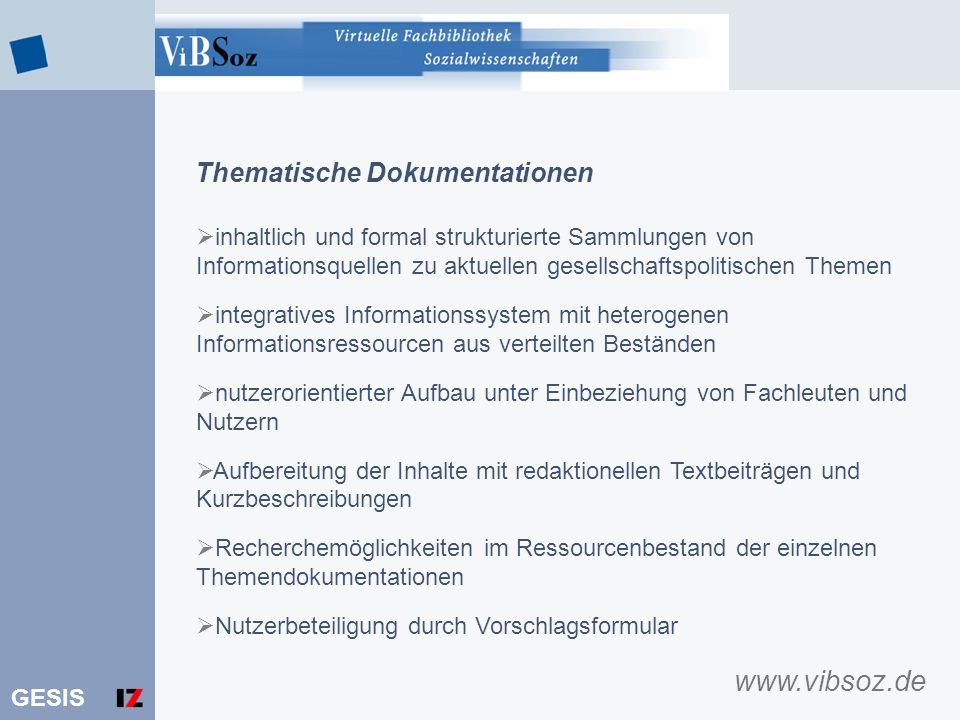 www.vibsoz.de Thematische Dokumentationen
