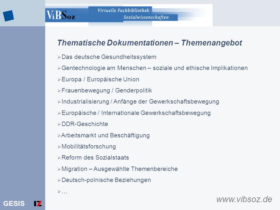 www.vibsoz.de Thematische Dokumentationen – Themenangebot
