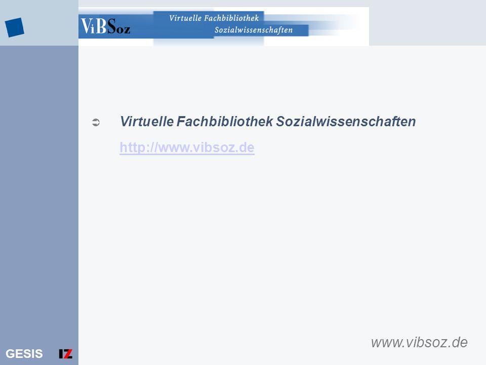 www.vibsoz.de Virtuelle Fachbibliothek Sozialwissenschaften