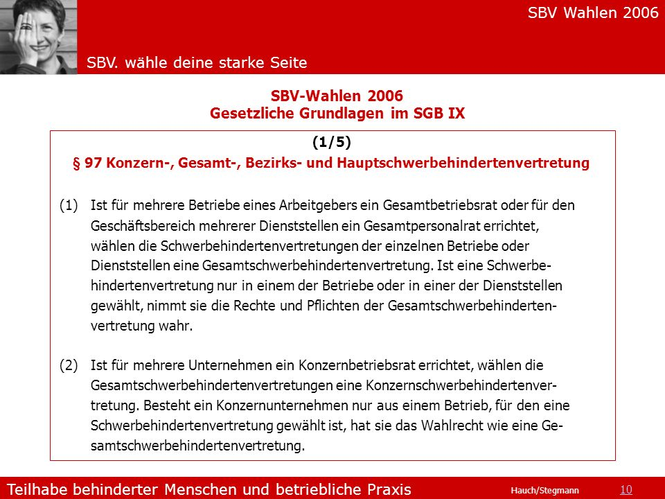 SBV-Wahlen 2006 Gesetzliche Grundlagen im SGB IX
