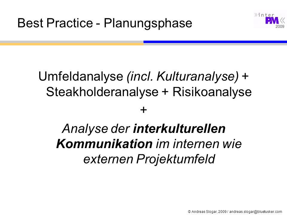 Best Practice - Planungsphase