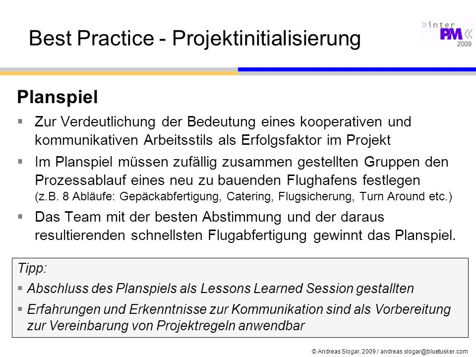 Best Practice - Projektinitialisierung